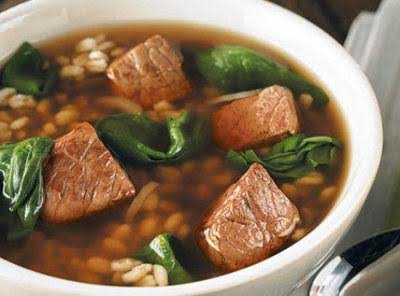 Beef Barley Soup With Spinach Recipe