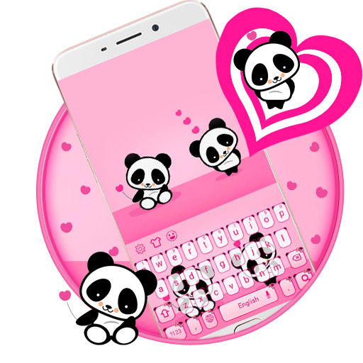 cute panda keyboard love
