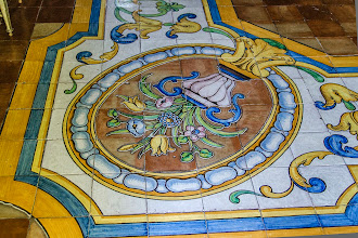 Photo: Painted tiles on the floor of the bedroom