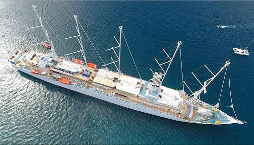 Drone image of Windstar's flagship, Wind Surf, seen from above in St. Lucia.