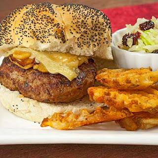Turkey-Sage Burgers w/Sautéed Apples and Brie.