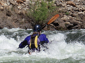 Photo: Surfing at the bottom of Racehorse Bend Rapid.