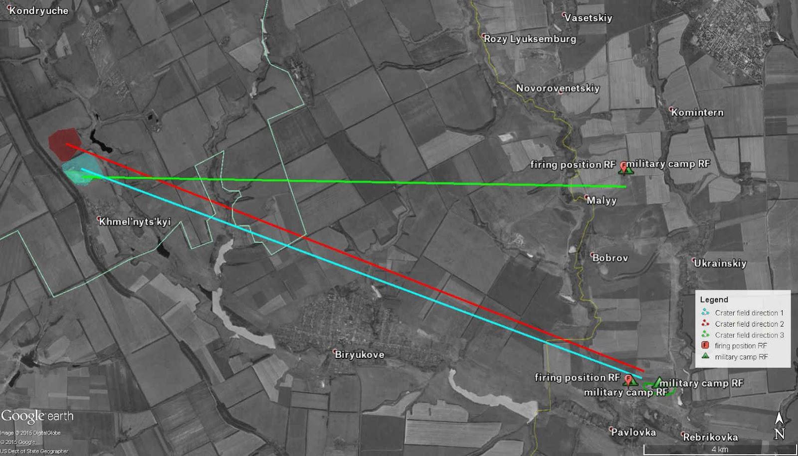 Result of the crater analysis at the village Khmelnytskyi, south of Sverdlovsk
