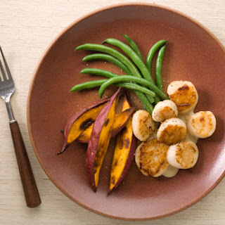 Pan-Roasted Scallops with Roasted Sweet Potatoes