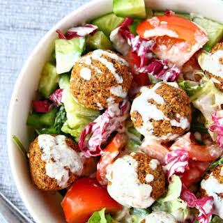 Falafel Salad with Tahini Yogurt Dressing.