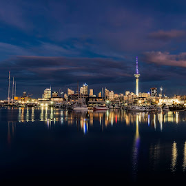Auckland City by Richard Kam - City,  Street & Park  Skylines ( clouds, water, lights, reflection, sky, sunset, sea, waterfront )