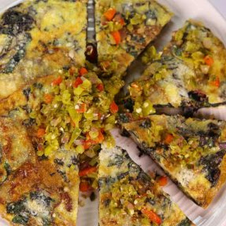 Mario Batali's Swiss Chard Frittata with Calabrese Bomba.