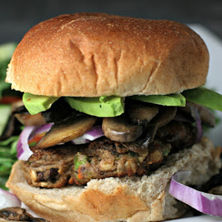 Mushroom Avocado BUBBA Veggie Burgers.
