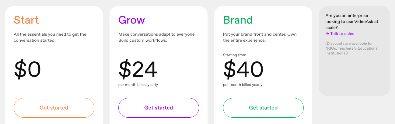 VideoAsk pricing: Start $0, Grow $24/month, Brand $40/month.