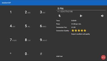 Screenshot of LowRateVoip call abroad