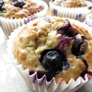Low Fat Blueberry & Banana Muffins.