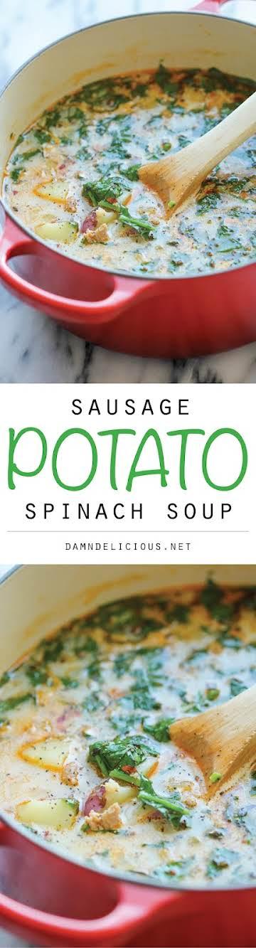 Sausage, Potato and Spinach Soup - Damn Delicious