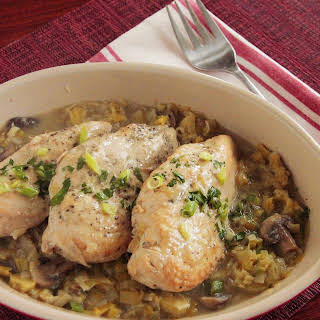 Instant Pot Chicken with Leeks and Mushrooms.