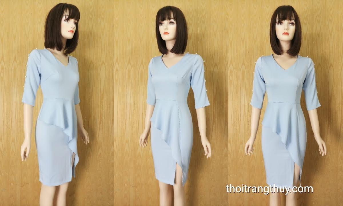 Váy bút chì dáng công sở phối bèo chân váy V631 thời trang thủy