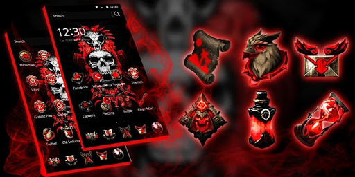Red Blood Skull Launcher app (apk) free download for Android/PC/Windows screenshot