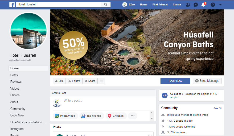 Facebook page of a hotel