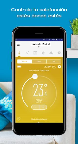momit Home Thermostat: captura de pantalla