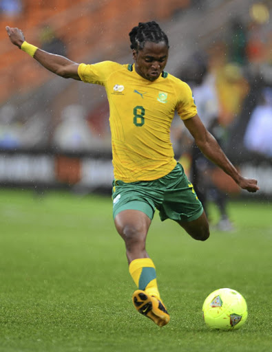 Equipoise: Siphiwe Tshabalala is perfectly balanced as he shoots for goal in a Bafana match in 2013. Picture: GALLO IMAGES