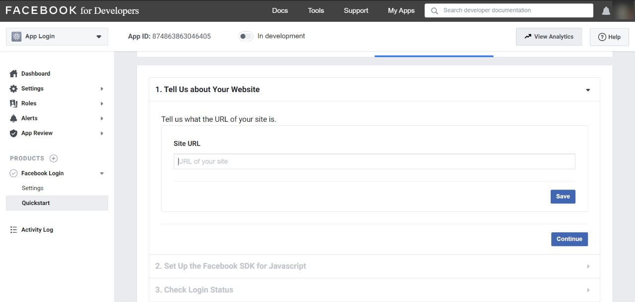 Image of Facebook for Developers, enter site URL