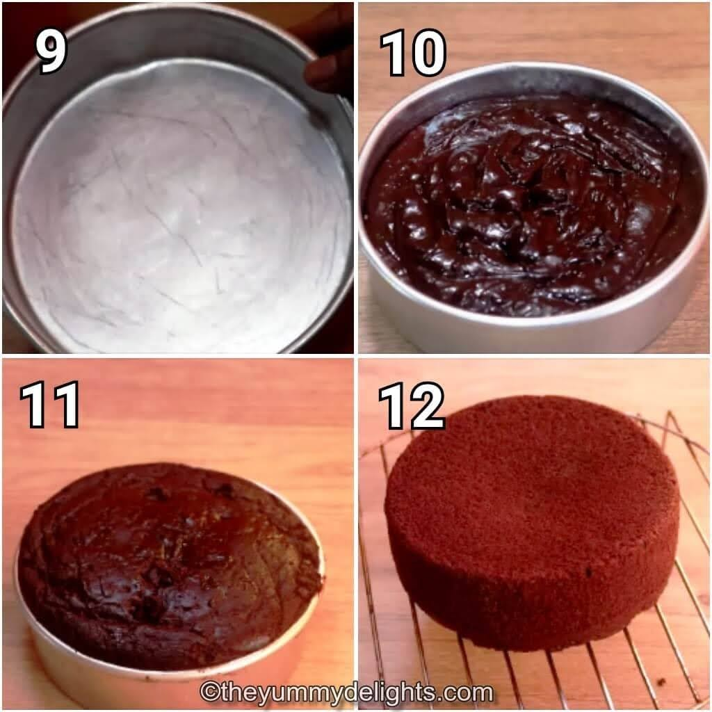 step by step image collage of baking the chocolate sponge cake & unmoulding the cake.