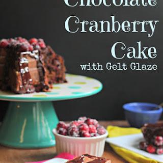 Chocolate Cranberry Cake with Gelt Glaze