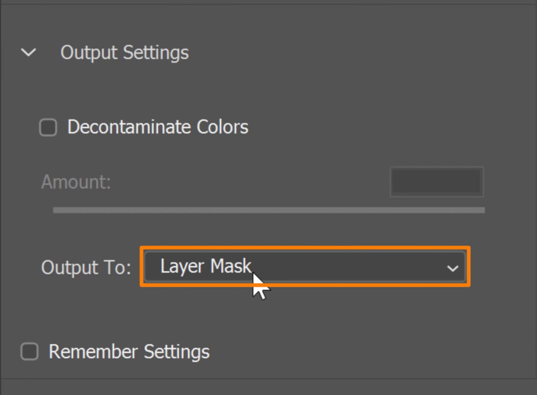 Set the Output to Layer Mask