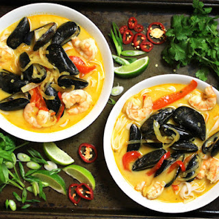 Thai Coconut Curry Soup with Mussels.