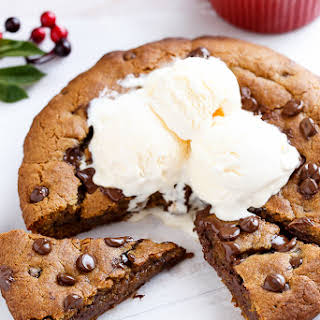 Nutella Stuffed Deep Dish Gingerbread Cookie with Browned Butter and Chocolate Chips.