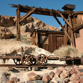 Calico ghost town by Gayle Mittan - Buildings & Architecture Decaying & Abandoned ( shed, historic, mojave desert, calico ghost town, boulders, rocks, gold mine, rails, buildings, miniing, california, desert, abandoned, silver mine )