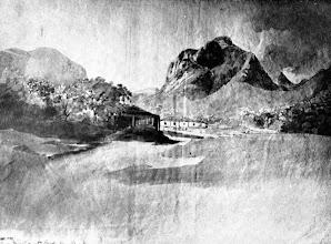 Photo: Fazenda da Mandioca, na Raiz da Serra, transformada mais tarde em Fábrica de Pólvora. Desenho sem data