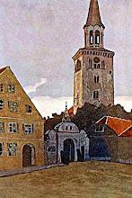Photo: N.Rerichas. Mitava. Turgaus aikšė. Nutapyta 1903m. Šv.Trejybės liuteroniškos bažnyčios varpinė, pastatyta 1688m.