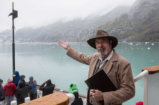 A guide, channeling conservationist John Muir, tells stories of the natural surroundings during a cruise on SS Legacy.