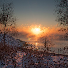 1st Light by Jack Noble - Landscapes Sunsets & Sunrises ( last sunrise, toronto, december 31 2017, -31°c, photography, lake ontario, jack nobre, winter, nature, cold, fog, freezing cold, sunrise,  )