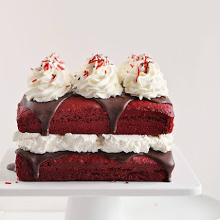 Red Velvet Cake with Peppermint Whipped Cream.