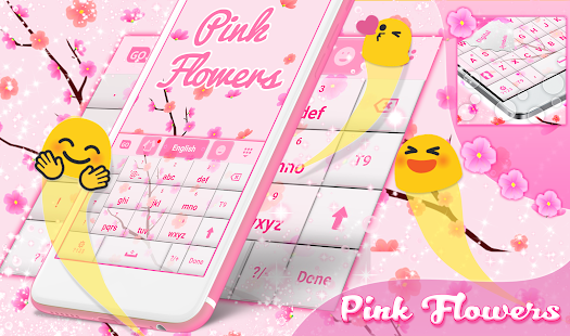 Pink Flowers For GO Keyboard - náhled