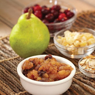 Pear-Cranberry Conserve with Almonds and Crystallized Ginger.