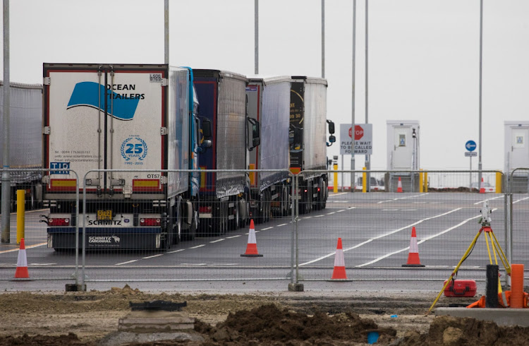 Trucks after entering the Sevington Inland Border facility for customs clearance near Mersham, UK, on January 20 2021. Picture: BLOOMBERG/CHRIS RATCLIFFE