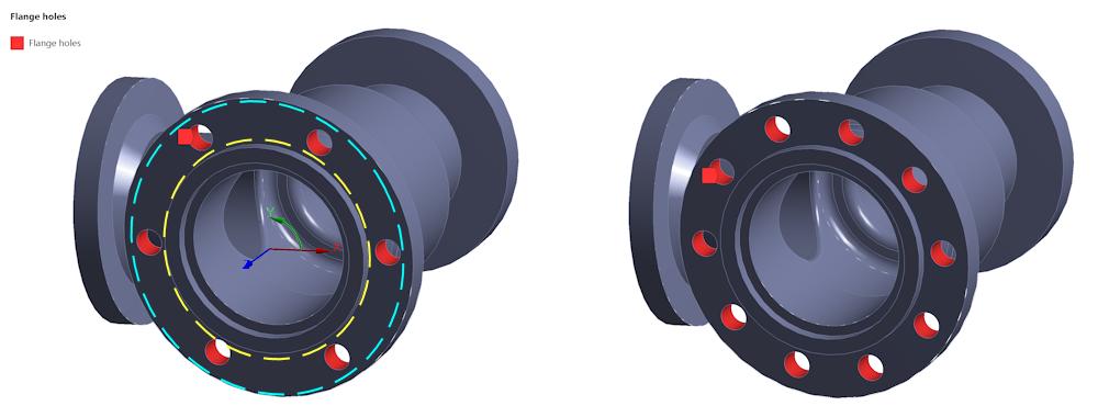ANSYS На рисунке выше показана выборка объектов (грани, выделенные красным цветом), параметры нагружения которых будут автоматически обновляться при изменении количества отверстий.