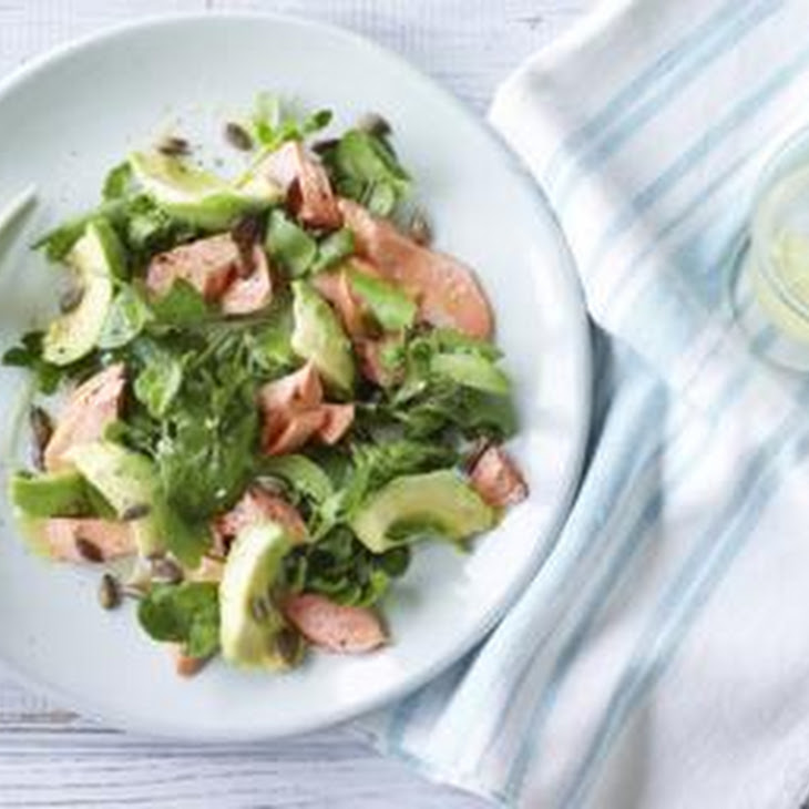 Marinated Wild Alaskan Salmon And Avocado Salad With Watercress ...