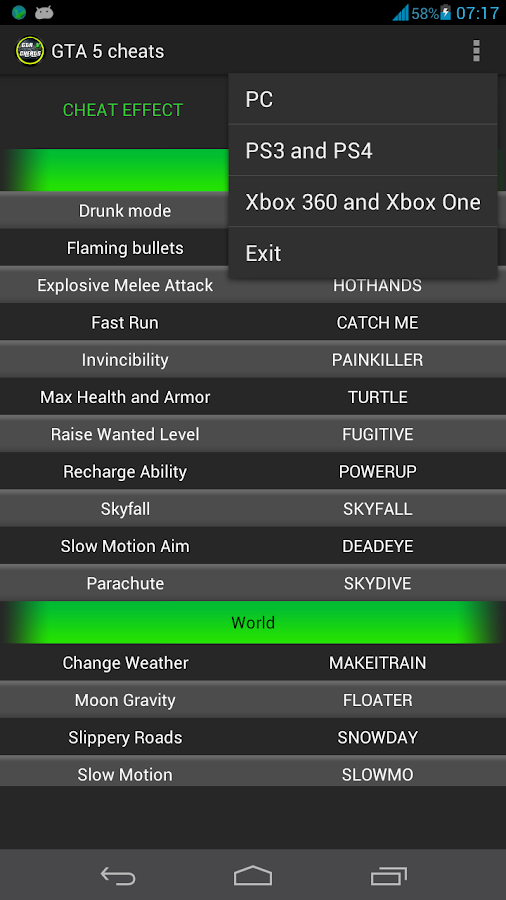 Grand Theft Auto V Cheats and Codes - GTA 5 Unlockables for