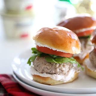 Duck Fat Pork Sliders with Raspberry Greek Yogurt & Goat Cheese.
