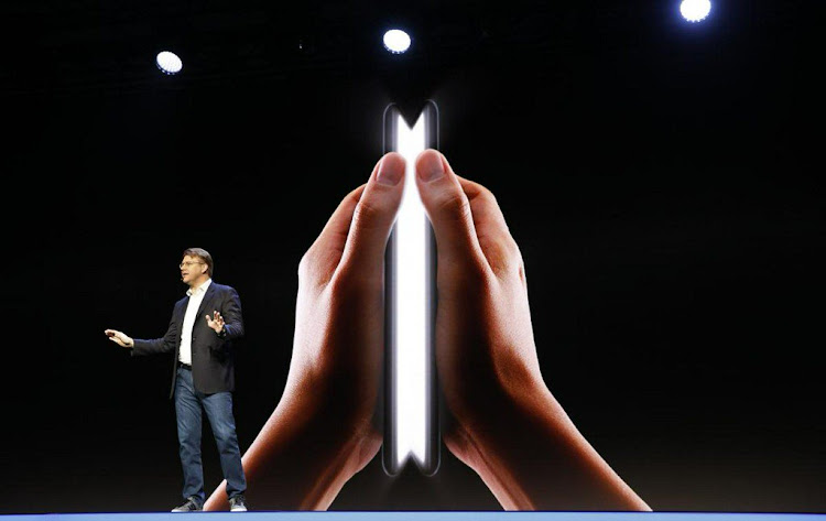 A sneak peak of the Samsung foldable phone at the developer conference in San Francisco