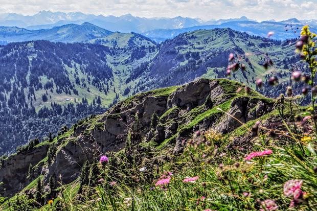 Vom Gündleskopf Blick Berge Allgäu und Vorarlberg Nagelfluhkette Allgäu