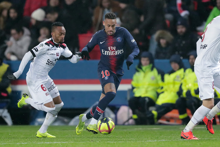 South Africa's Lebogang Phiri of Guingamp, Neymar Jr of Paris Saint Germain during tussle for the ball during the French League 1 match at the Parc des Princes on January 19, 2019 in Paris.