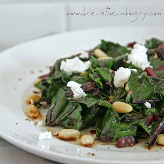 Wilted Beet Greens w/ Goat Cheese & Pine Nuts.