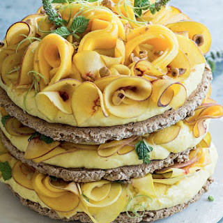 Hazelnut Meringue Cake With Lime Curd, Peach And Mango.