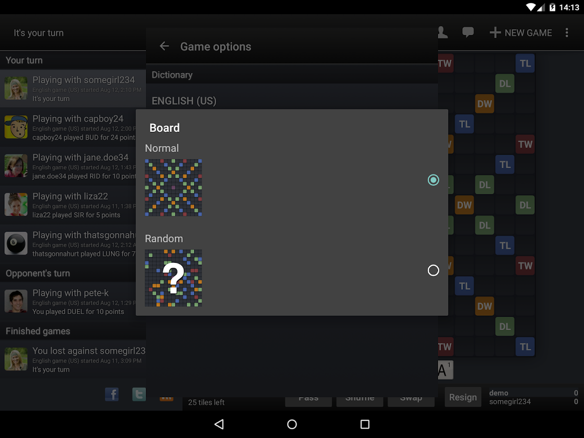 Wordfeud- screenshot