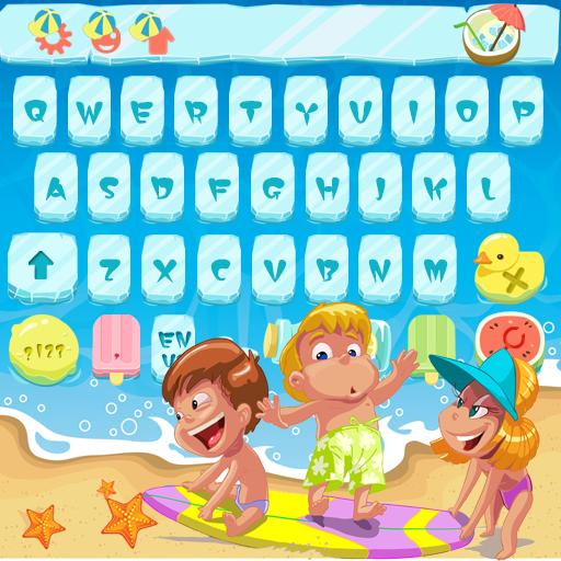 Happy Summer Sea Surfing Cartoon Keyboard Theme