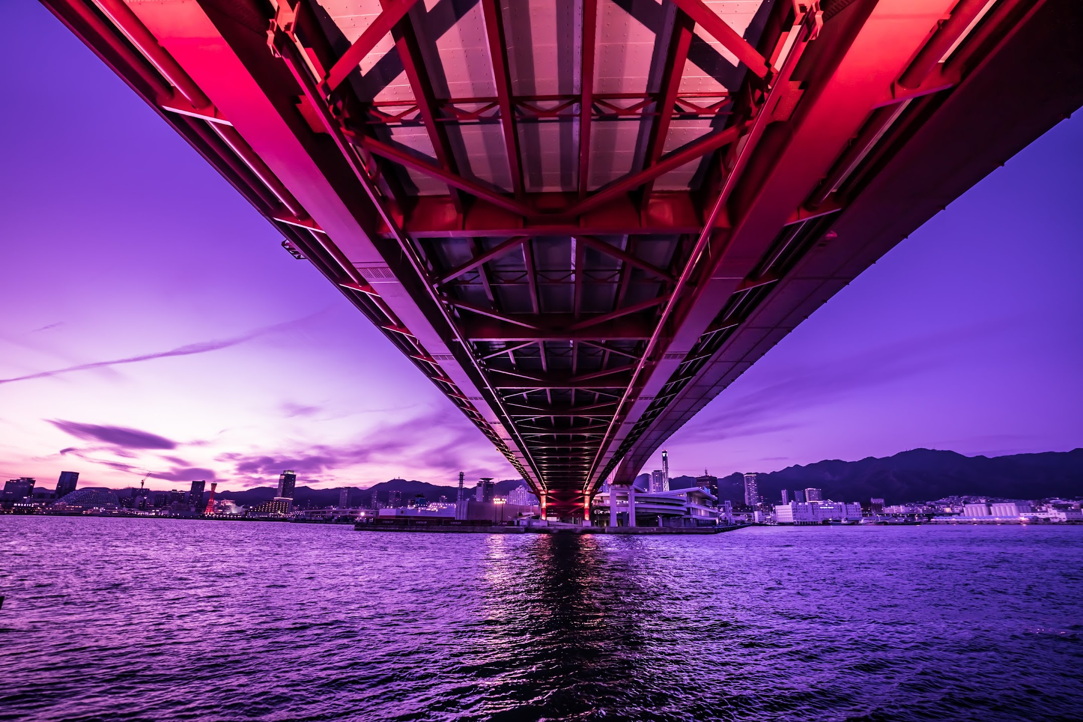 Kobe Great Bridge evening2