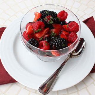 Summer Berry Salad & Frosted Basil Leaves